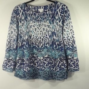 Chico's blue animal print knit top XL